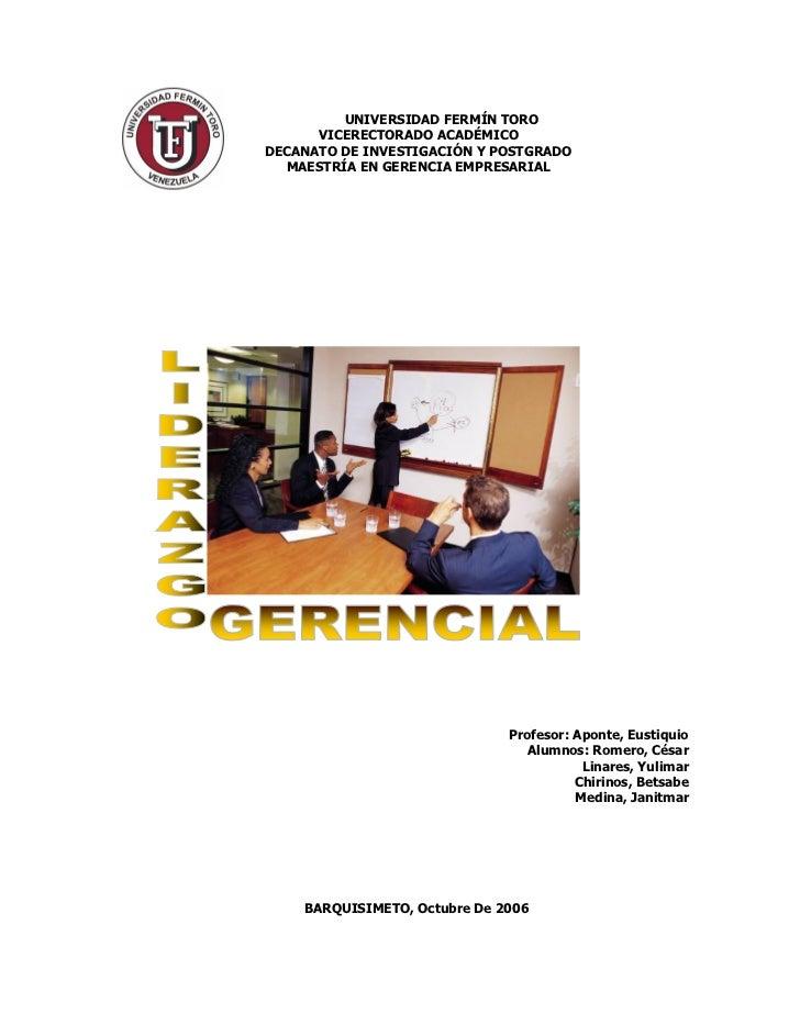 UNIVERSIDAD FERMÍN TORO      VICERECTORADO ACADÉMICODECANATO DE INVESTIGACIÓN Y POSTGRADO  MAESTRÍA EN GERENCIA EMPRESARIA...