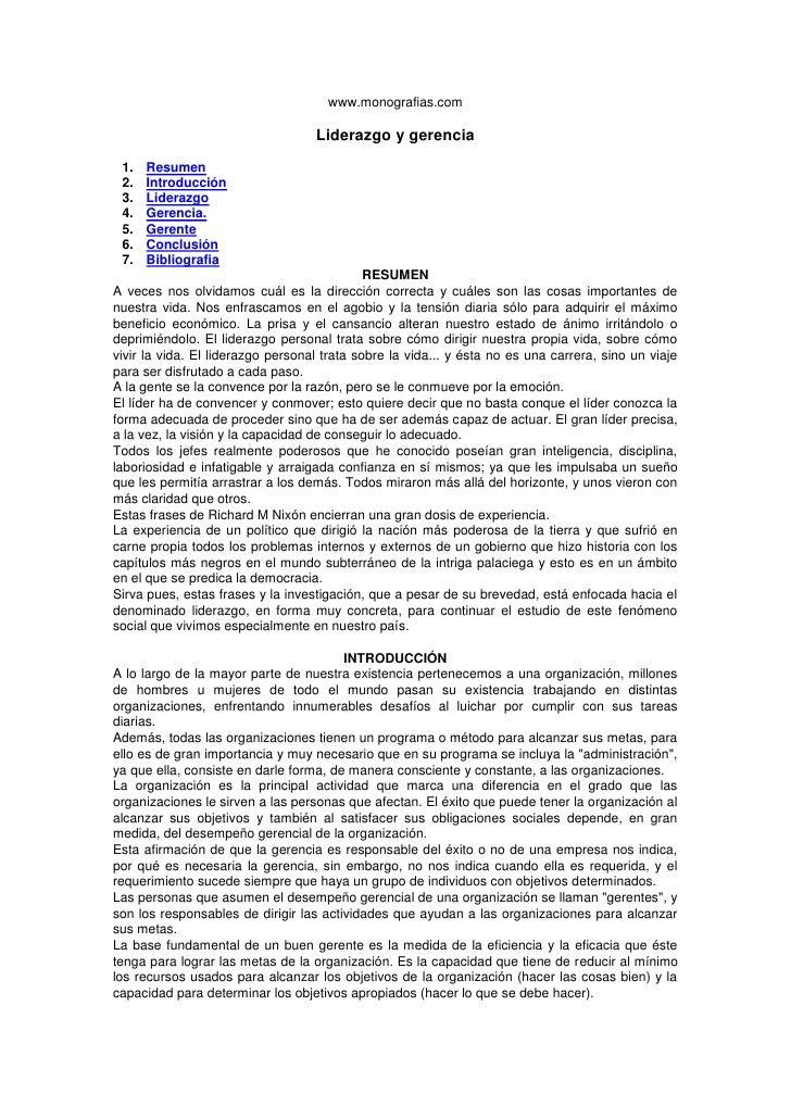 www.monografias.com<br />Liderazgo y gerencia<br />Resumen<br />Introducción<br />Liderazgo<br />Gerencia.<br />Gerente<br...
