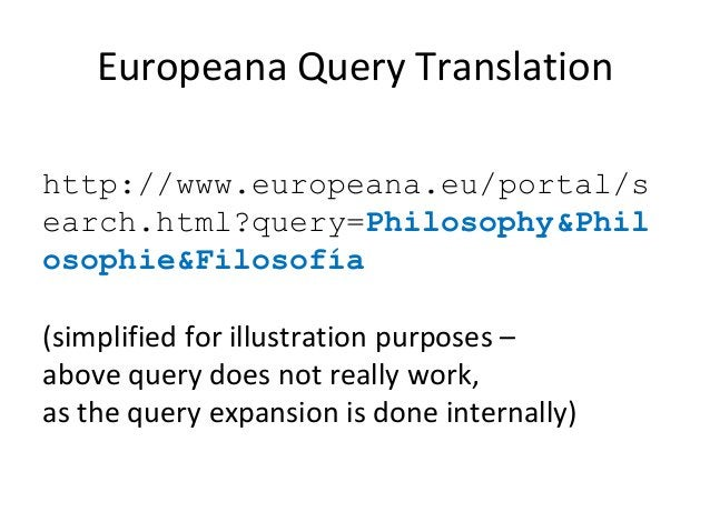 Europeana Query Translation http://www.europeana.eu/portal/s earch.html?query=Philosophy&Phil osophie&Filosofía (simplifie...