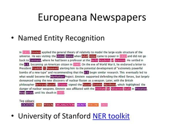 "Europeana Newspapers •Named Entity Disambiguation ""Jordan"" • Comparison of context"