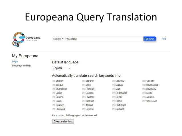 Europeana Query Translation