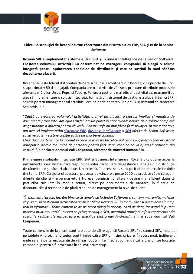 Liderul distribuției de bere și băuturi răcoritoare din Bistrița a ales ERP, SFA și BI de la Senior Software Roxana SRL a ...