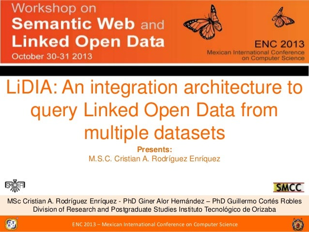 LiDIA: An integration architecture to query Linked Open Data from multiple datasets Presents: M.S.C. Cristian A. Rodríguez...