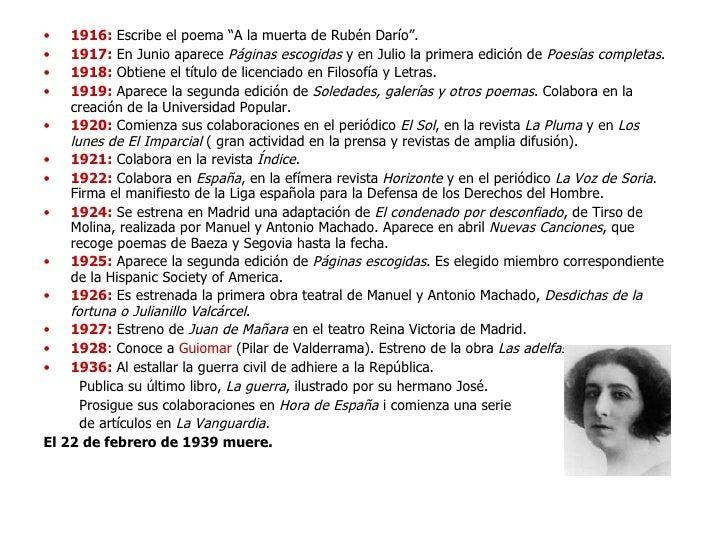 """<ul><li>1916:  Escribe el poema """"A la muerta de Rubén Darío"""". </li></ul><ul><li>1917:  En Junio aparece  Páginas escogidas..."""