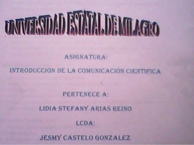 Lidia arias INTRRODUCCION A LA COMUNICACION CIENTIFICA