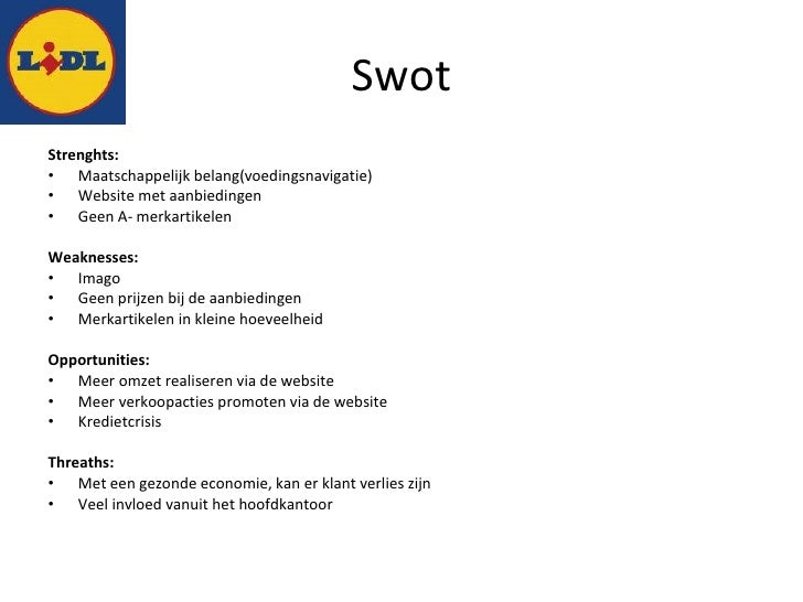 swot lidl Howandwhatnet welcome to the world of easy-to-use information this article is about a brief swot analysis of aldi (4ps of aldi) and swot analysis of lidl.