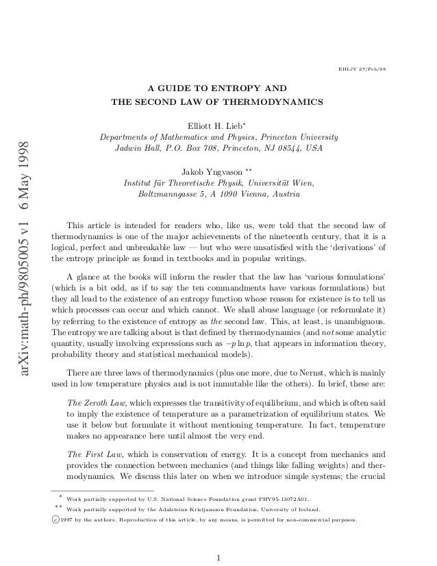 EHLJY 27/Feb/98                                                                        A GUIDE TO ENTROPY AND             ...