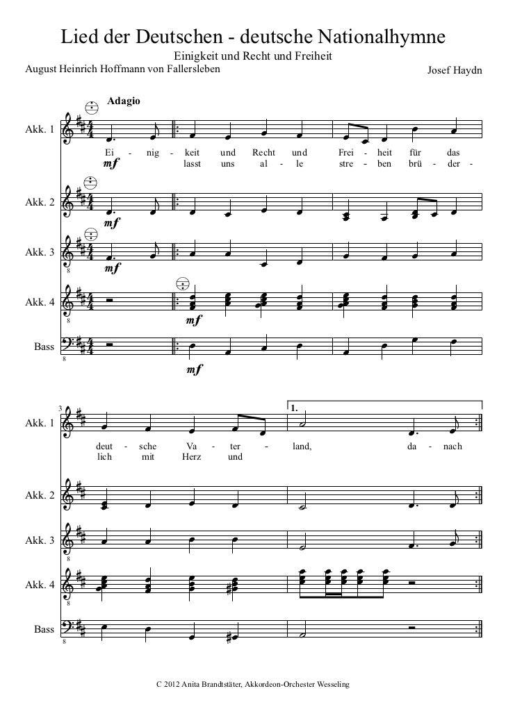 Lied der Deutschen - deutsche Nationalhymne                                          Einigkeit und Recht und FreiheitAugus...