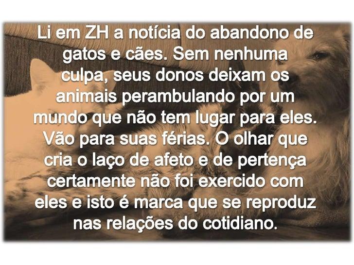 Li em ZH a notícia do abandono de gatos e cães. Sem nenhuma culpa, seus donos deixam os animais perambulando por um mundo ...