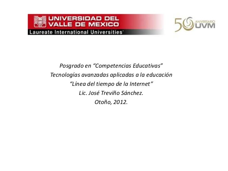""".   Posgrado en """"Competencias Educativas""""Tecnologías avanzadas aplicadas a la educación       """"Línea del tiempo de la Inte..."""
