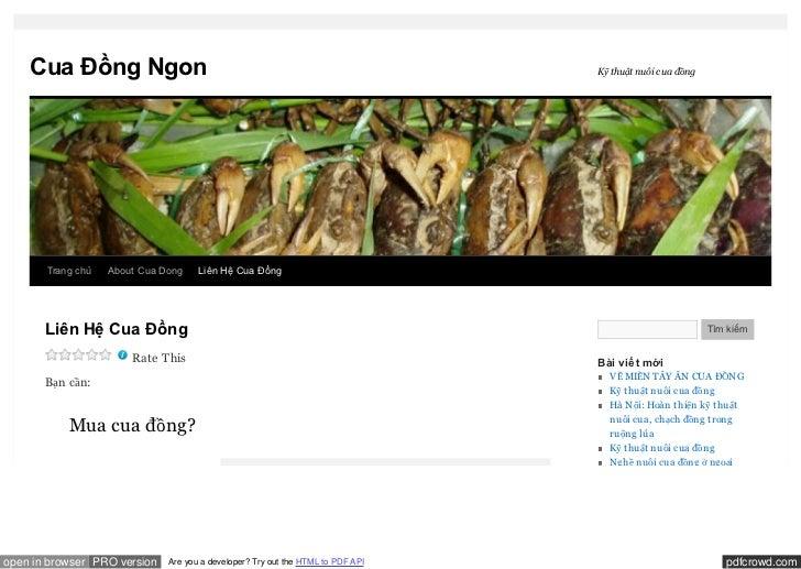 Cua Đồng Ngon                                                                Kỹ thuật nuôi cua đồng       Trang chủ   Abou...