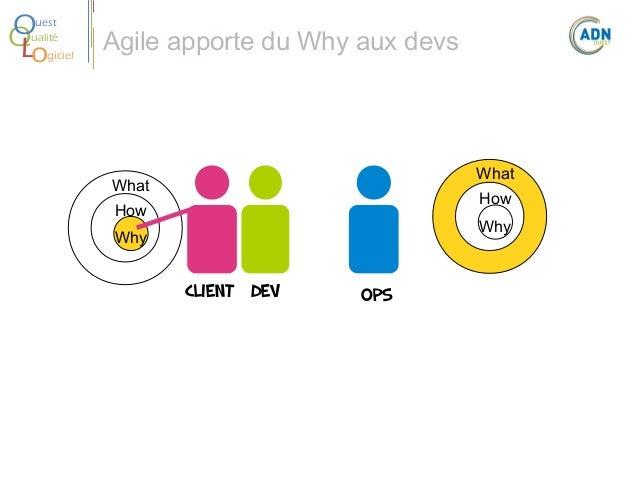 O Q Lo  uest ualité giciel  Agile apporte du Whyaux devs  What  What  How  How  Why  Why  Client Dev  Ops