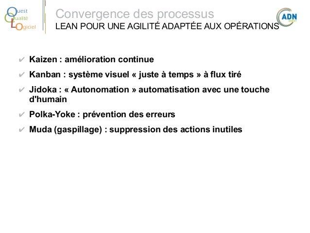 O Q Lo  uest ualité giciel  Convergence des processus LEAN POUR UNE AGILITÉ ADAPTÉE AUX OPÉRATIONS  ✔ Kaizen:amélioratio...