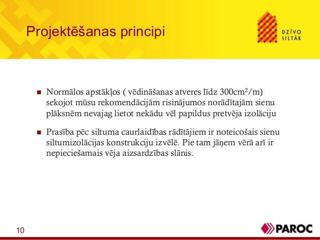 10Projektēšanas principi Normālos apstākļos ( vēdināšanas atveres līdz 300cm2/m)sekojot mūsu rekomendācijām risinājumos n...