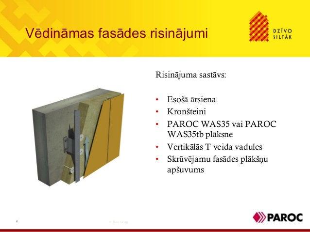 Vēdināmas fasādes risinājumi© Paroc Group17Risinājuma sastāvs:• Esošā ārsiena• Kronšteini• PAROC WAS35 vai PAROCWAS35tb pl...