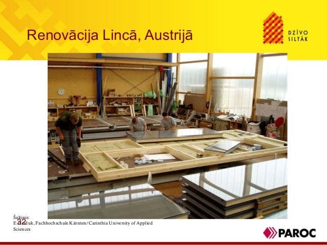 Renovācija Lincā, Austrijā32Šaltinis:E.Heiduk, Fachhochschule Kärnten/Carinthia University of AppliedSciences