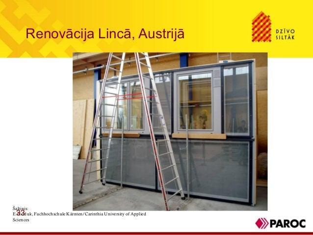 Renovācija Lincā, Austrijā33Šaltinis:E.Heiduk, Fachhochschule Kärnten/Carinthia University of AppliedSciences