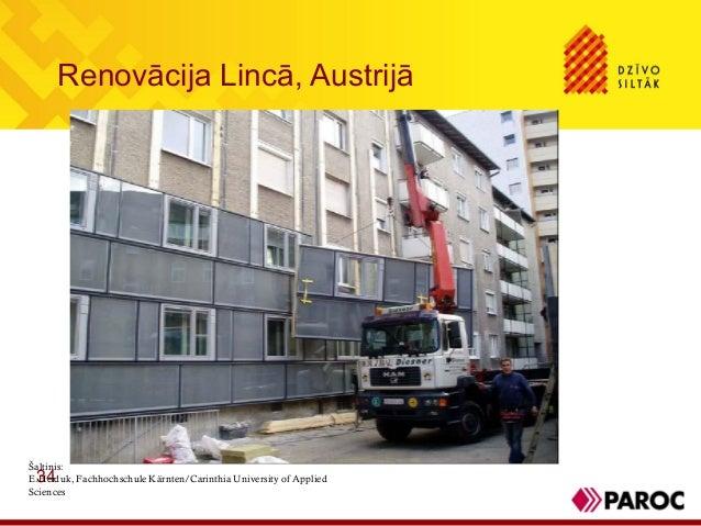 Renovācija Lincā, Austrijā34Šaltinis:E.Heiduk, Fachhochschule Kärnten/Carinthia University of AppliedSciences