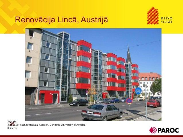 Renovācija Lincā, Austrijā35Šaltinis:E.Heiduk, Fachhochschule Kärnten/Carinthia University of AppliedSciences