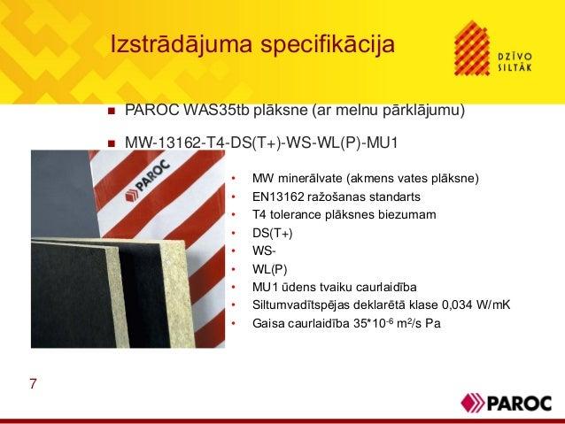 7Izstrādājuma specifikācija PAROC WAS35tb plāksne (ar melnu pārklājumu) MW-13162-T4-DS(T+)-WS-WL(P)-MU1• MW minerālvate ...