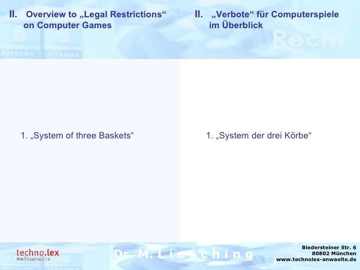 """Rechtsanwalt Dr. M. Liesching Dr. M. L i e s c h i n g Biedersteiner Str. 6 80802 München www.technolex-anwaelte.de II.  """"..."""