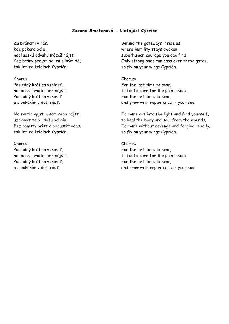 Lietajúci cyprián lyrics