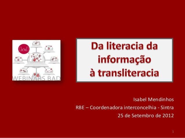 Isabel MendinhosRBE – Coordenadora interconcelhia - Sintra                25 de Setembro de 2012                          ...