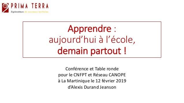 Apprendre : aujourd'hui à l'école, demain partout ! Conférence et Table ronde pour le CNFPT et Réseau CANOPE à La Martiniq...