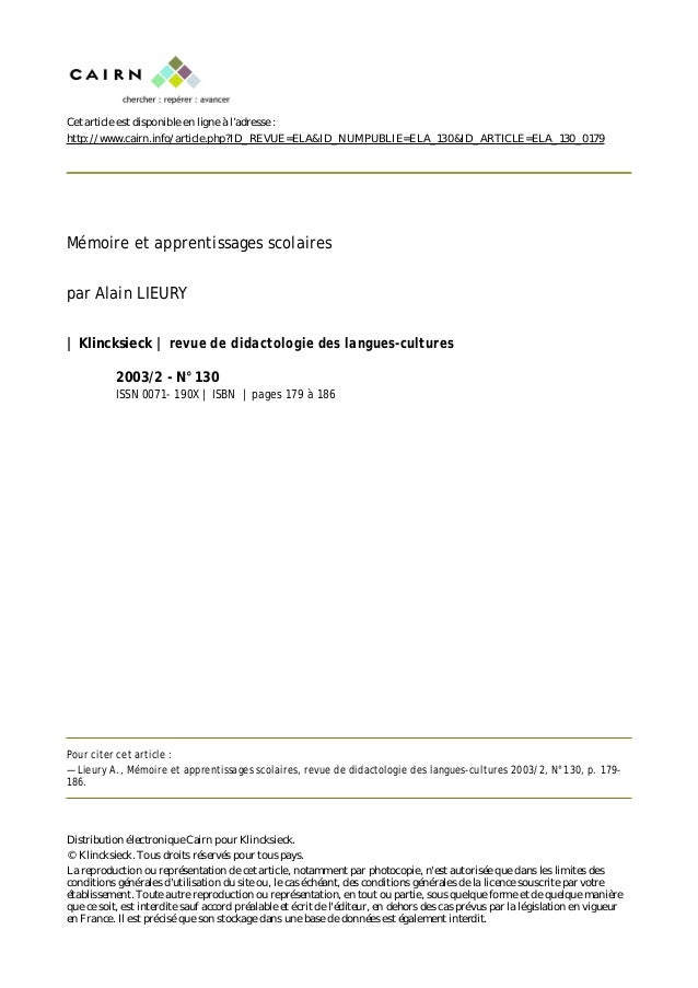 Cet article est disponible en ligne à l'adresse : http://www.cairn.info/article.php?ID_REVUE=ELA&ID_NUMPUBLIE=ELA_130&ID_A...