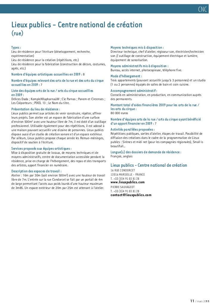 Lieux r sidences arts de rue et cirque france 2011 - Bureau de service national du lieu de recensement ...
