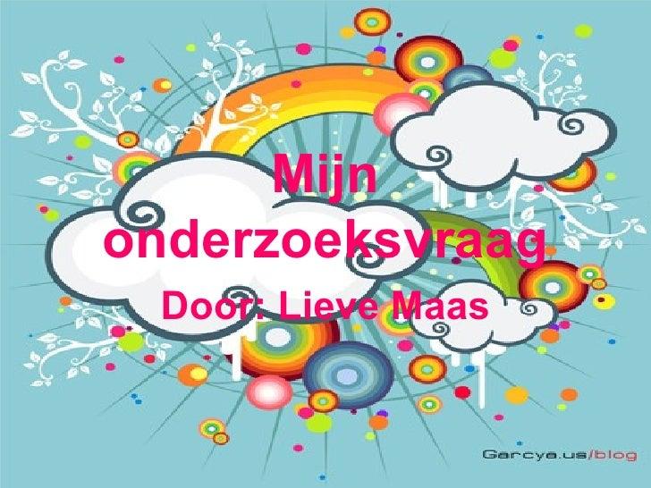 Mijn onderzoeksvraag Door: Lieve Maas