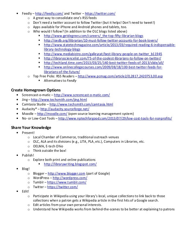 Lifelong Learning for Librarians: Free Professional Development and Current Awareness Resources and Tips handout Slide 2