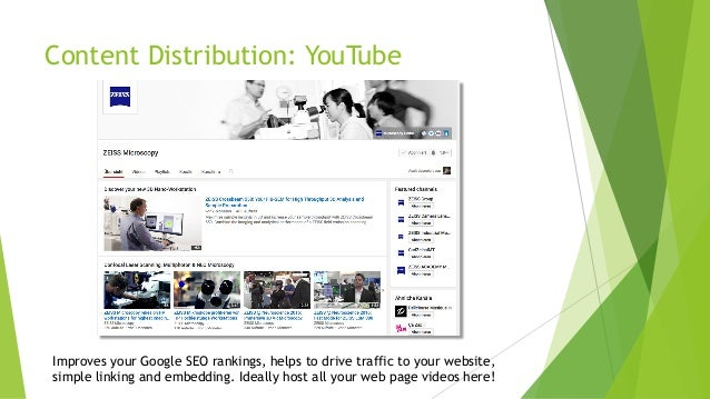 Content Distribution: YouTube Improves your Google SEO rankings, helps to drive traffic to your website, simple linking an...