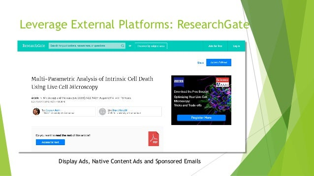 Leverage External Platforms: ResearchGate Display Ads, Native Content Ads and Sponsored Emails