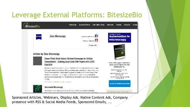 Leverage External Platforms: BitesizeBio Sponsored Articles, Webinars, Display Ads, Native Content Ads, Company presence w...