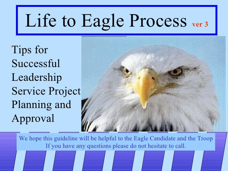 Life to Eagle Process  ver 3 Tips for Successful Leadership Service Project Planning and  Approval We hope this guideline ...