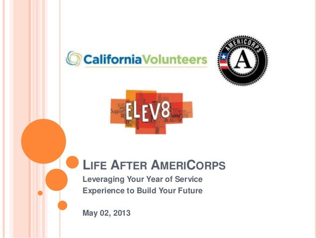 LIFE AFTER AMERICORPSLeveraging Your Year of ServiceExperience to Build Your FutureMay 02, 2013