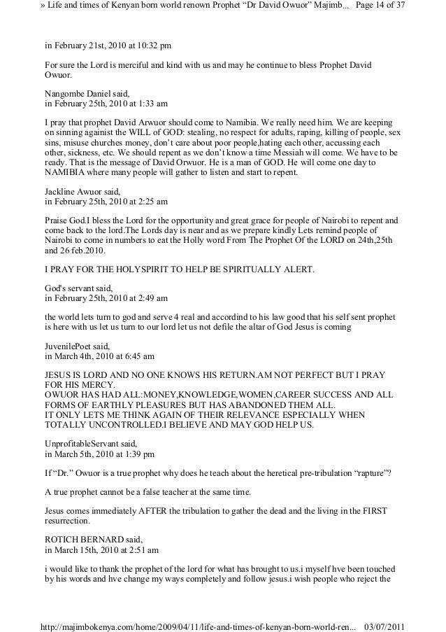 "Life and times of kenyan born world renown prophet ""dr david"