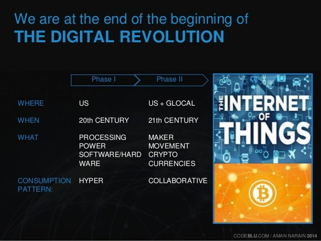 We are at the end of the beginning of  THE DIGITAL REVOLUTION  WHERE  WHEN  WHAT  CONSUMPTION  PATTERN:  US + GLOCAL  21th...