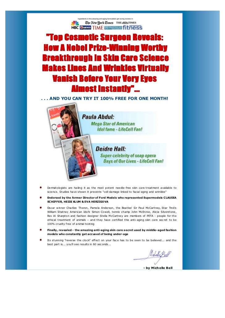 """1-888-707-6091 """"Top Cosmetic Surgeon Reveals:How A Nobel Prize-Winning WorthyBreakthrough In Skin Care ScienceMakes Lines ..."""