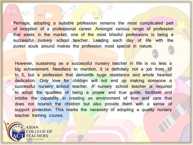 Life changing experience with nursery teacher training Slide 2