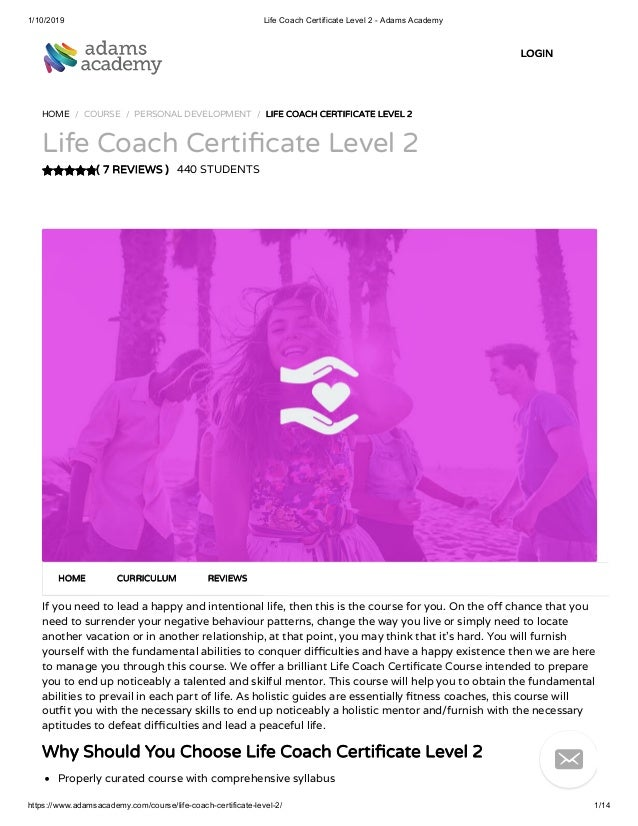 Life Coach Certificate Level 2 Adamsacademy