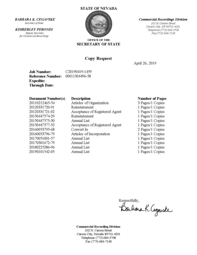 LifeCode Genetics Nevada Corporate Documents