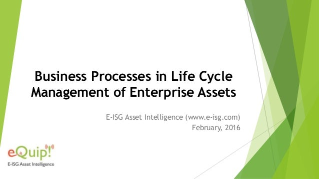 Business Processes in Life Cycle Management of Enterprise Assets E-ISG Asset Intelligence (www.e-isg.com) February, 2016