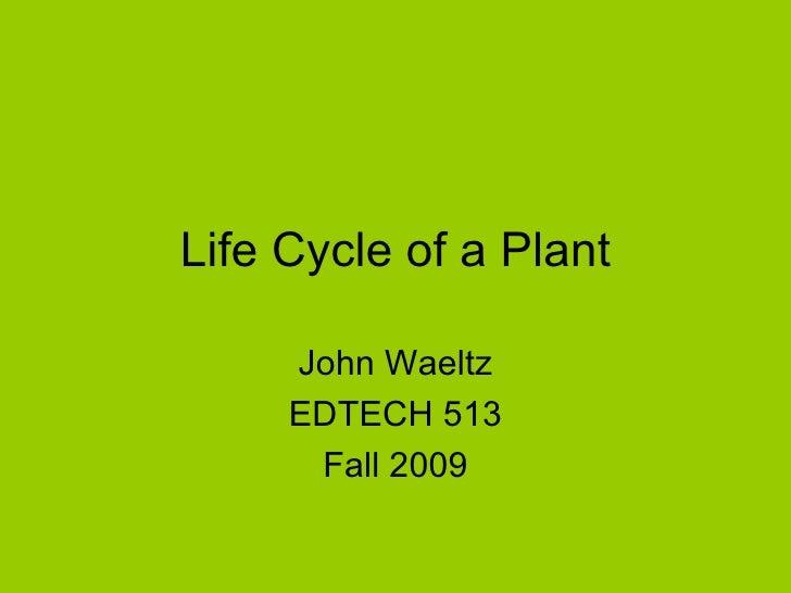 Life Cycle of a Plant John Waeltz EDTECH 513 Fall 2009
