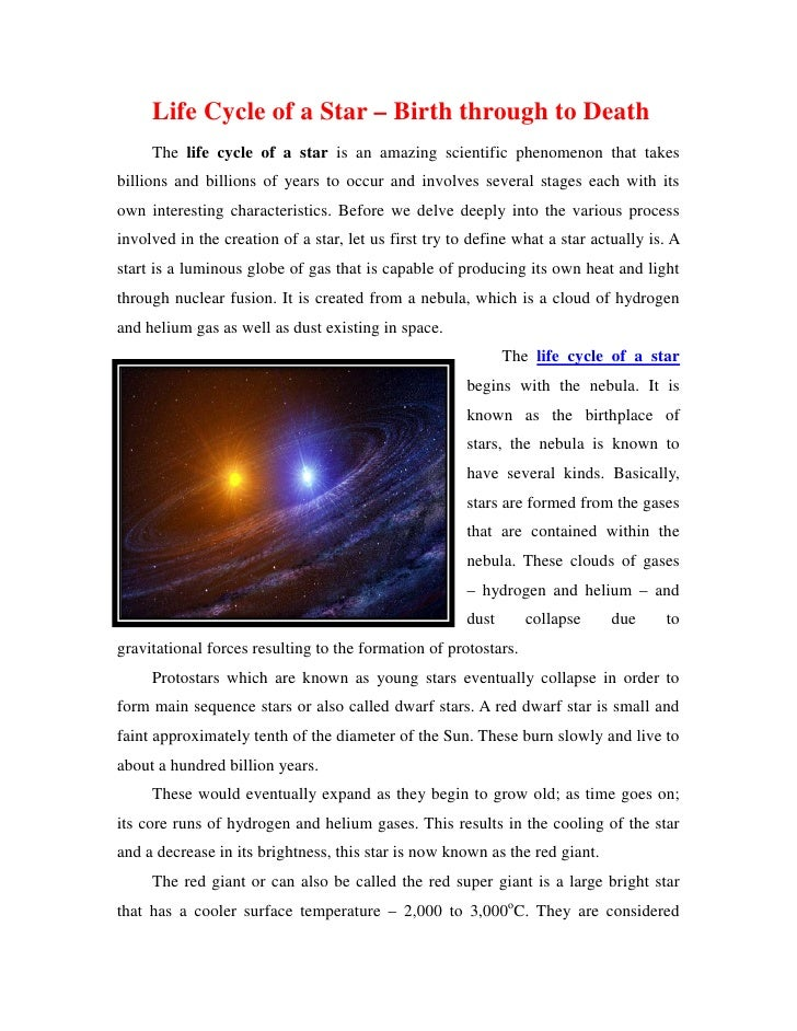 Life Cycle of a Star – Birth through to Death     The life cycle of a star is an amazing scientific phenomenon that takesb...