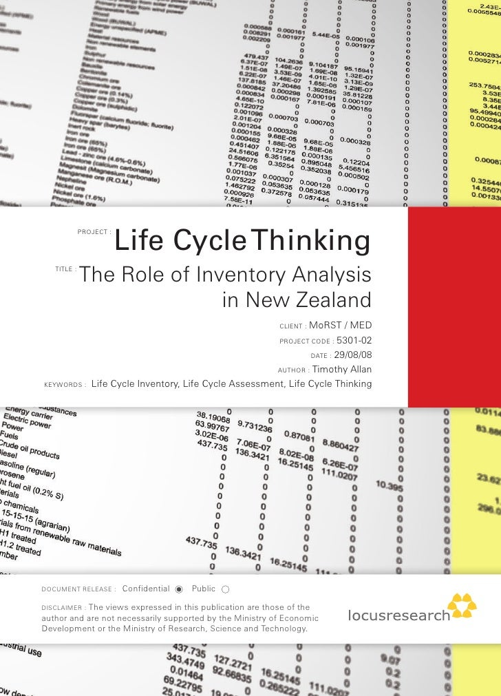 Life Cycle Thinking              PROJECT :        TITLE :              The Role of Inventory Analysis                     ...