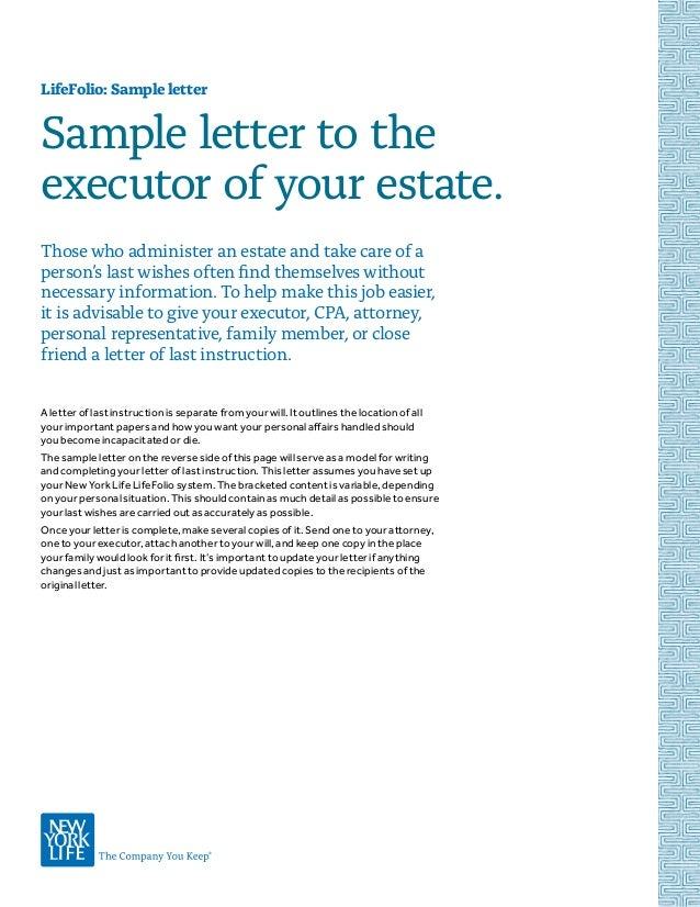 Lifefolio 14 sample letter to the executor of your estate spiritdancerdesigns Choice Image