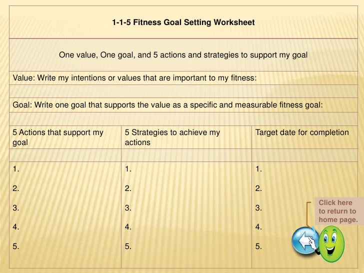 life goals worksheet