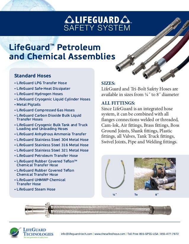 LifeGuard safety hose petrochem specification sheets